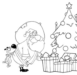 Outlined Dog Biting Santas Butt By A Christmas Tree