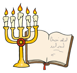 Golden Menorah And Book