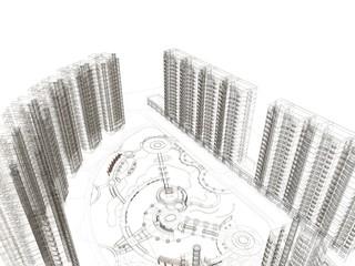 grattacieli palazzi rendering 3d illustrazione