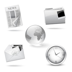 Silver office icons, set