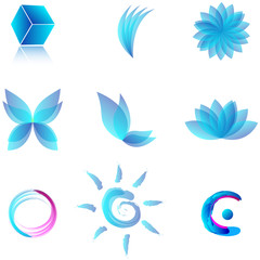 Vector set of blue aqua abstract symbols