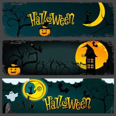 Vector Halloween banner set