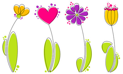 Vector set of beautiful hand drawn style flowers
