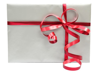 Silver envelope gift with red ribbon