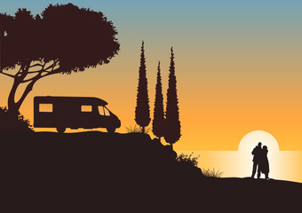 Urlaubsstimmung mit Sonnenuntergang