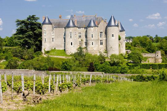 Luynes Castle with vineyard, Indre-et-Loire, Centre, France