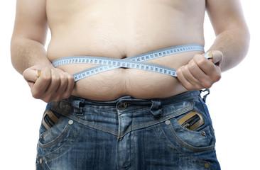 fat man measuring big fat belly