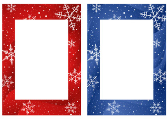 Frames with snowflakes on wavy red and blue background