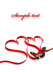 Red ribbon shaped two hearts isolated on white. 3d illustration