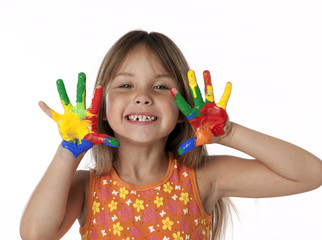 Cute Girl With Finger Paint Hands