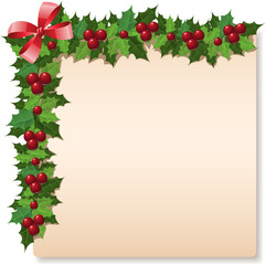 Christmas holly greeting card. Vector illustration