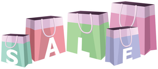 Sale. Colorful shopping bags. Vector illustration.