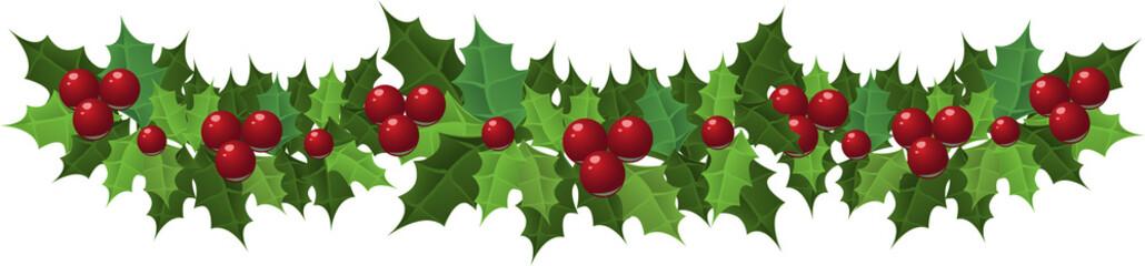 Christmas holly garland. Vector illustration