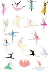 set of color ballet dancers