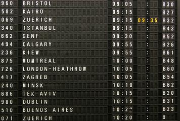 Flight timing information board in air port terminal