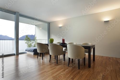 Sala da pranzo vuota ma moderna nessuno in giro immagini e fotografie royalty free su fotolia - Lampade sopra tavolo da pranzo ...