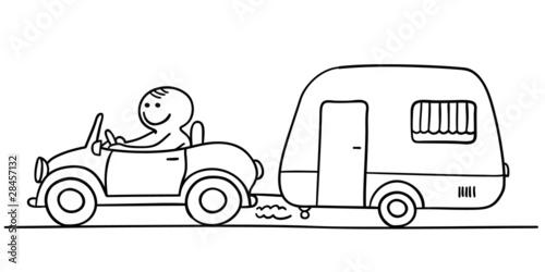 """""""figur im auto mit wohnwagen"""" stockfotos und lizenzfreie"""