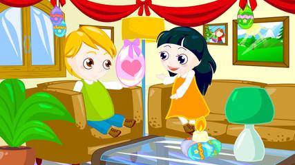 little boy offers egg to a little girl