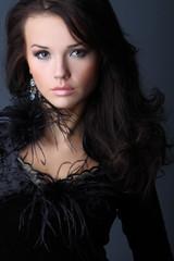 Lady In A Black Velvet Dress