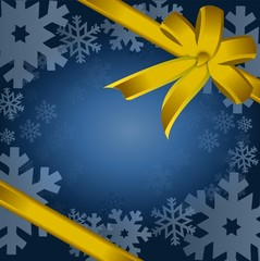 Detail illustration of gold christmas gift, ribbon, bow