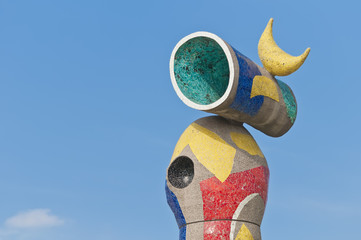 Joan Miro Mujer y Pajaro sculpture located at Barcelona, Spain