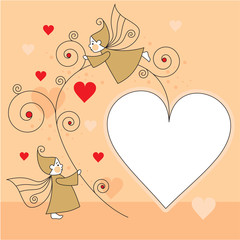 greeting card with elves and hearts