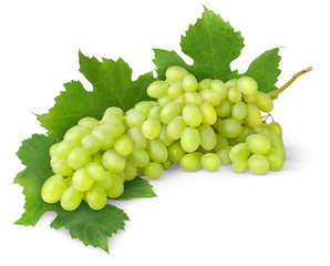 Isolated grapes. Bunch of white grape with leaves isolated on white background