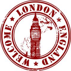 Grunge stamp with London, England, Welcome inside