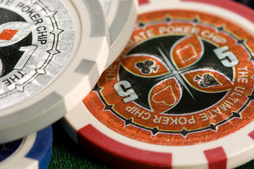 Macro of casino chips
