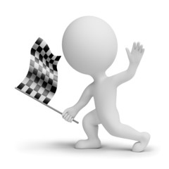 3d small people whitch a checkered flag