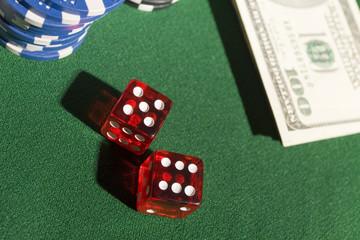 Casino dice on green