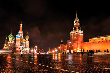 The Moscow Kremlin and Red Square at night.