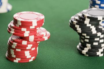 Macro of casino chips