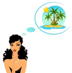 lady dreams about Island with tropical palms