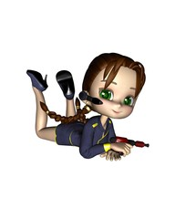 Cute Toon Female Starship Officer - lounging
