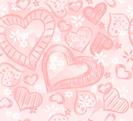 seamless background with pink hearts