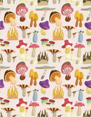 seamless mushrooms pattern