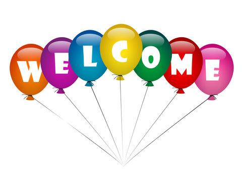 """""""WELCOME"""" (rainbow balloons home smile greetings party merry)"""
