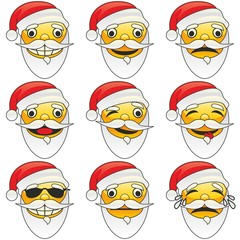 illustration of santa claus emoticons