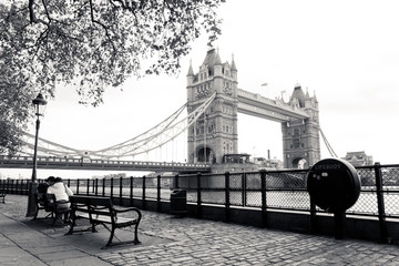 Wall Mural - A black and white view of Tower Bridge