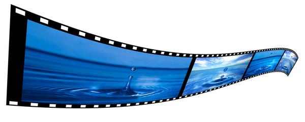 Film strip with water splashing