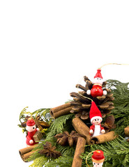 Christmas decoration - thuja branches and red wooden figures