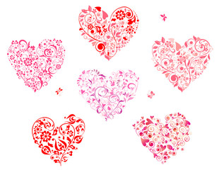 Floral greeting heart shapes
