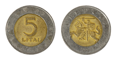 Coin Lithuania lit on the white background (1998 year)