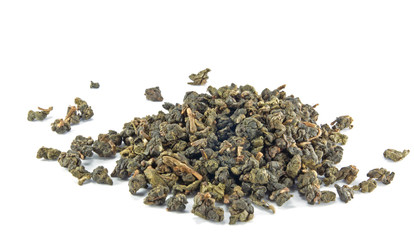 Heap of dry tea on white background