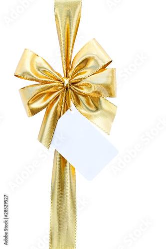 ruban cadeau dor avec carte de voeux sur fond blanc photo libre de droits sur la banque d. Black Bedroom Furniture Sets. Home Design Ideas
