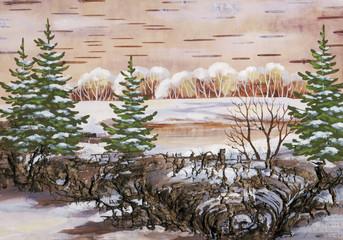Winter natural landscape. drawing distemper on a birch bark