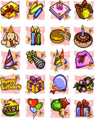 Birthday - color vector set.
