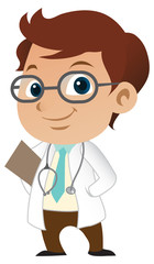 Cute little male doctor