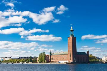 Stockholm city hall and blue sky
